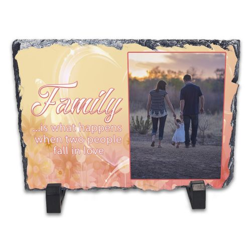 Personalised Family Is What Happen's When Two People Fall In Love Rock Slate Photo Frame - Rectangle